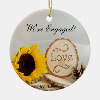 Rustic Sunflower Woodland Engagement Ornament
