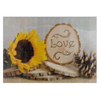 Rustic Sunflower Woodland Wedding Cutting Board