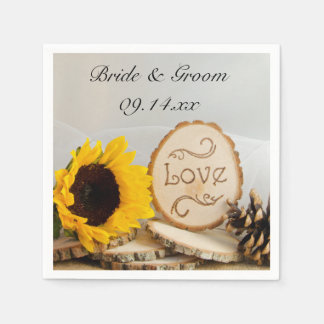 Rustic Sunflower Woodland Wedding Disposable Napkins