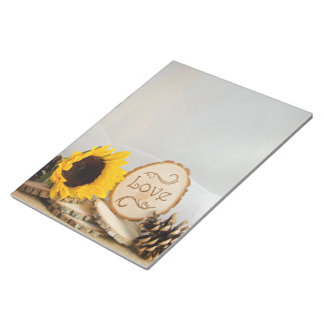 Rustic Sunflower Woodland Wedding Notepad