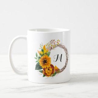 Rustic Sunflower Wreath with Monogram Coffee Mug