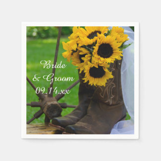 Rustic Sunflowers and Cowboy Boots Country Wedding Disposable Napkin