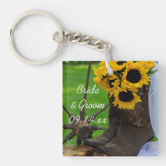 Rustic Sunflowers and Cowboy Boots Country Wedding Keychain