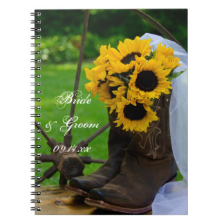 Rustic Sunflowers and Cowboy Boots Country Wedding Notebook