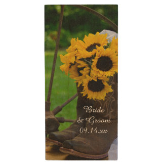 Rustic Sunflowers and Cowboy Boots Country Wedding Wood USB 2.0 Flash Drive