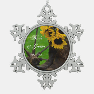 Rustic Sunflowers and Cowboy Boots Western Wedding Snowflake Pewter Christmas Ornament