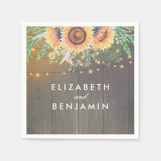 Rustic Sunflowers and String Lights Wood Barn Paper Napkin