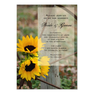 Rustic Sunflowers and Wagon Wheel Country Wedding Card