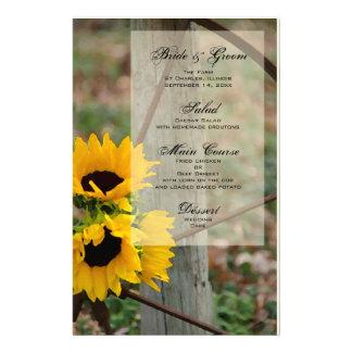 Rustic Sunflowers and Wagon Wheel Wedding Menu Personalized Stationery