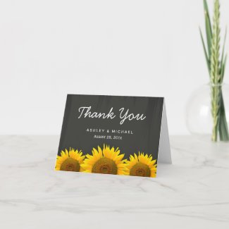 Rustic Sunflowers Black White Chalkboard Thank You