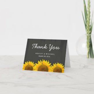 Rustic Sunflowers Black White Chalkboard Thank You