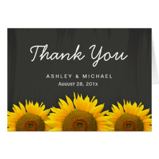 Rustic Sunflowers Black White Chalkboard Thank You Card