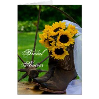 Rustic Sunflowers Boots Bridal Shower Invitation