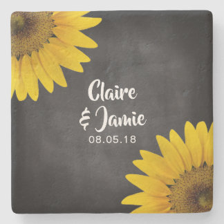 Rustic Sunflowers Chalkboard Wedding Monogram Stone Coaster