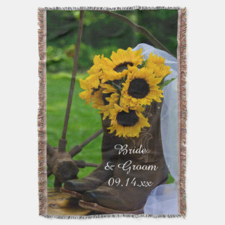 Rustic Sunflowers Cowboy Boots Country Wedding Throw Blanket