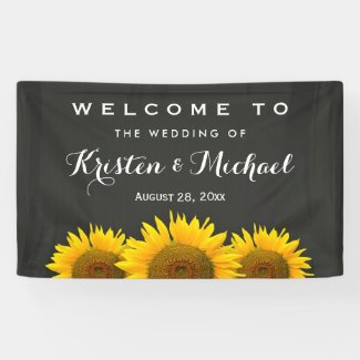 Rustic Sunflowers Elegant Chalkboard Wedding Party Banner