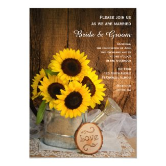 Rustic Sunflowers Garden Watering Can Barn Wedding Invitation