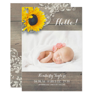 Rustic Sunflowers Lace Newborn Baby Photo Birth Card