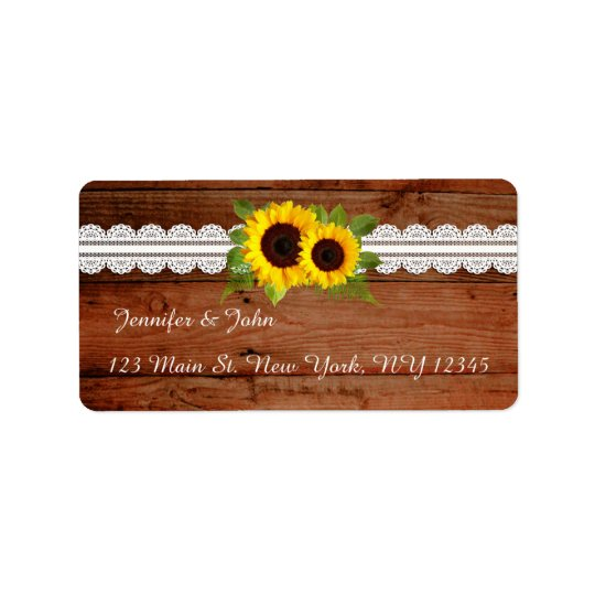 Rustic Sunflowers Lace Return Address Labels