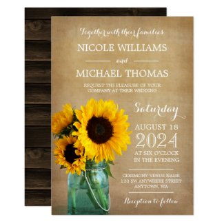 Rustic Sunflowers Mason Jar Country Wedding Invitation