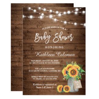 "Rustic Sunflowers Mason Jar Lights Baby Shower 5"" X 7"" Invitation Card"