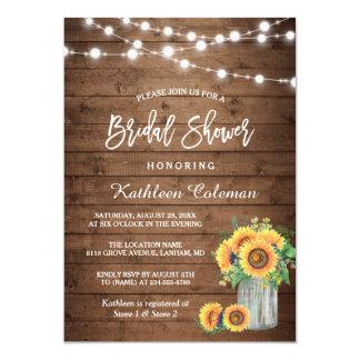 "Rustic Sunflowers Mason Jar Lights Bridal Shower 5"" X 7"" Invitation Card"