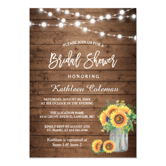 Rustic Sunflowers Mason Jar Lights Bridal Shower Card
