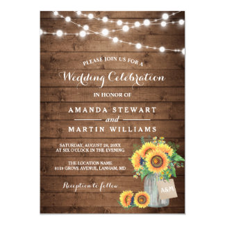 "Rustic Sunflowers Mason Jar String Lights Wedding 5"" X 7"" Invitation Card"