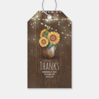 Rustic Sunflowers Mason Jar Wedding Pack Of Gift Tags