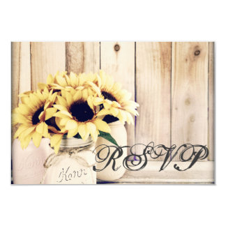 Rustic Sunflowers Mason Jar Wedding RSVP Cards