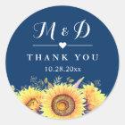 Rustic Sunflowers Navy Blue Wedding Favour Classic Round Sticker