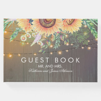 Rustic Sunflowers Wood and String Lights Wedding Guest Book