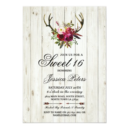 Rustic Sweet 16 Party Floral Antlers Stag Invite