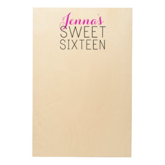 Rustic Sweet 16 Sign-In Board Wood Print