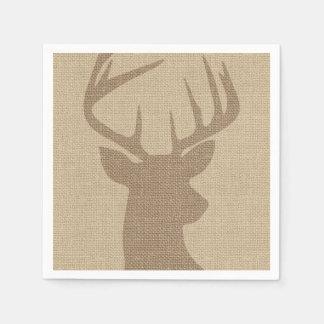 Rustic Tan Burlap Deer Buck Paper Napkins