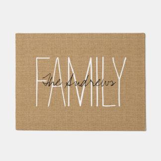 Rustic Tan Family Monogram Doormat