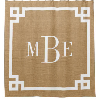 Rustic Tan Greek Key Border Monogram