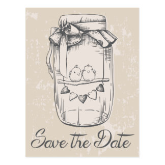 Rustic Tan Save The Date Mason Jar Lovebirds Postcard