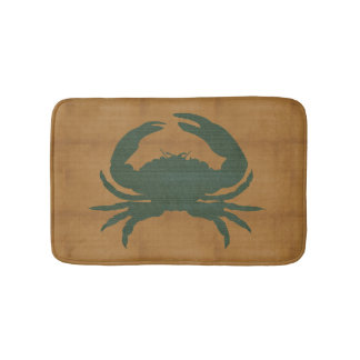 Rustic Tan with Dark Green Crab Bath Mat