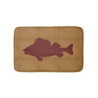Rustic Tan with Dark Red Fish Bath Mat