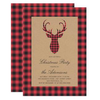 Rustic Tartan Plaid Reindeer Christmas Party Card