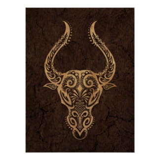 Rustic Taurus Zodiac Sign on Stone Effect