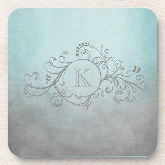 Rustic Teal and Grey Bohemian  Flourish Coaster