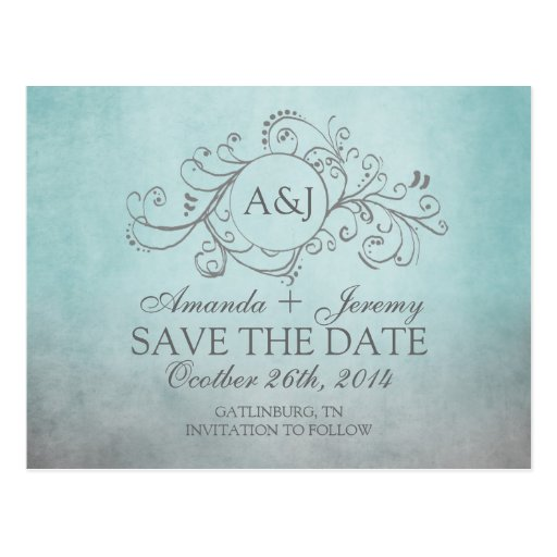 Rustic Teal and Grey Bohemian Save The Date Post Card