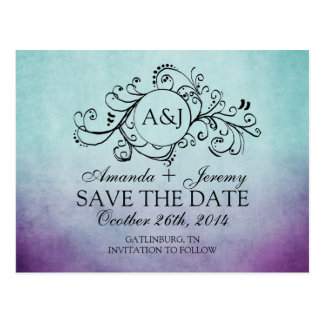 Rustic Teal and Purple Bohemian Save The Date Postcard