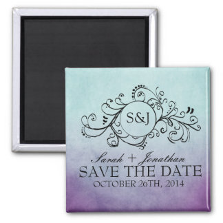 Rustic Teal and Purple Bohemian Save The Date Square Magnet