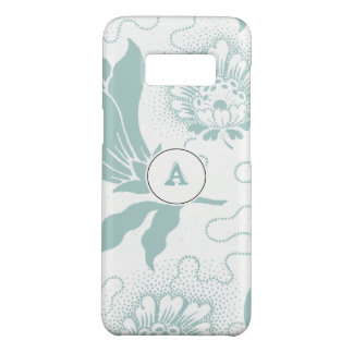 Rustic Teal And White Floral Print With Monogram Case-Mate Samsung Galaxy S8 Case