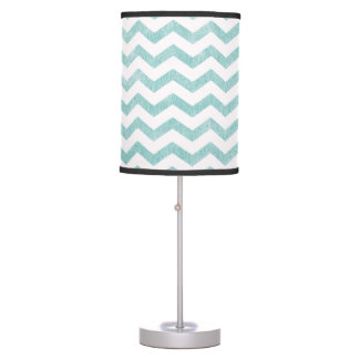 Rustic Teal Chevron Pattern Table Lamp