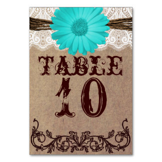 Rustic Teal Daisy Wedding Table Number Card