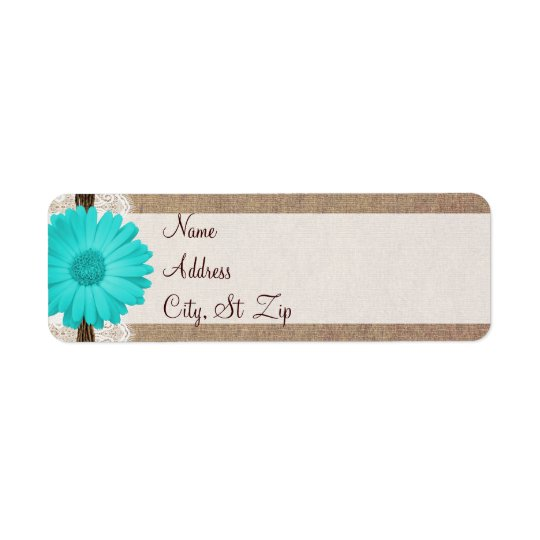 Rustic Teal Gerber Daisy Return Address Labels